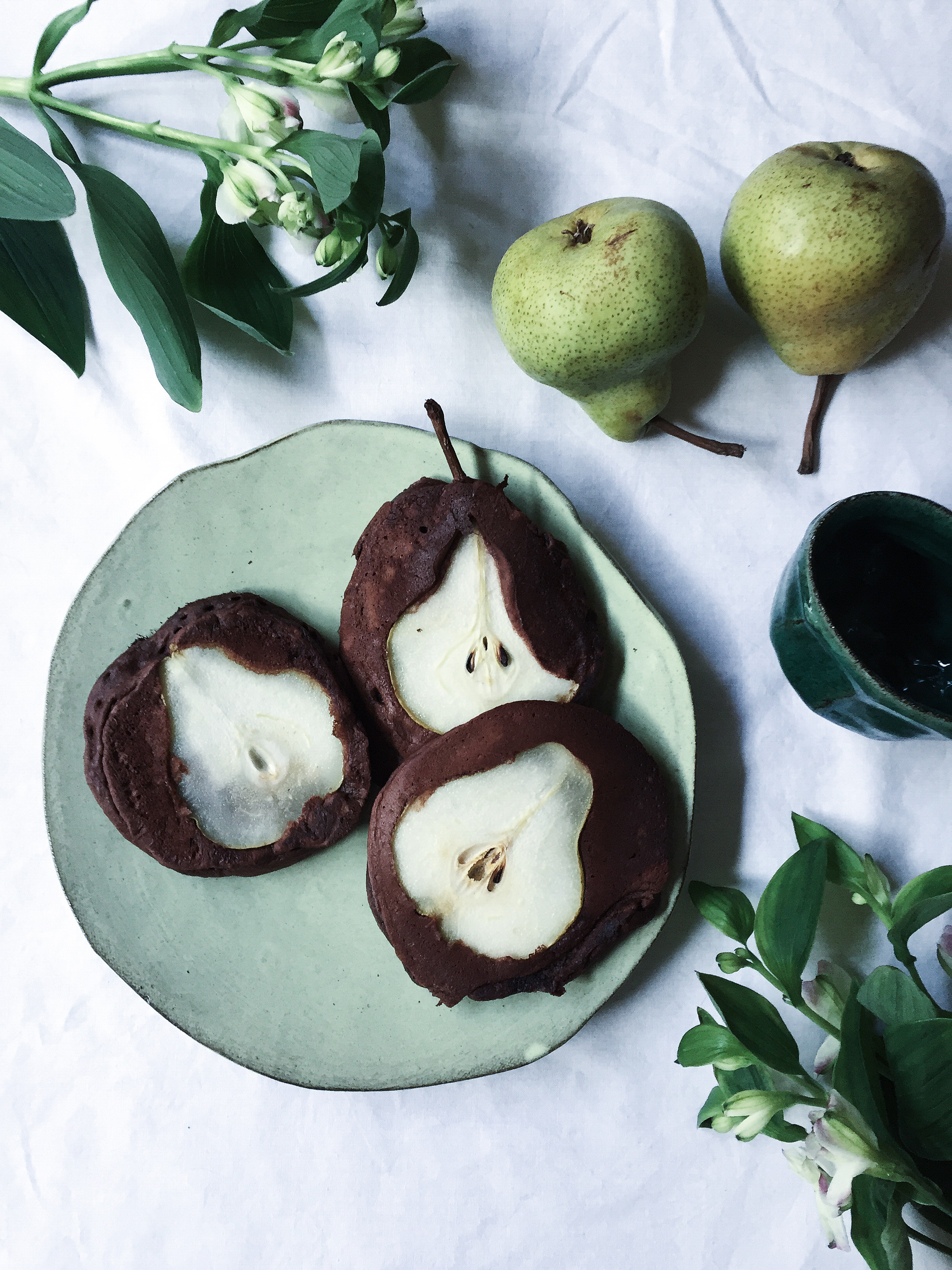 Pear and Chocolate Pancakes